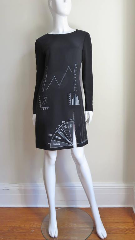Moschino Life Charts and Graphs Screen Print Dress For Sale 3