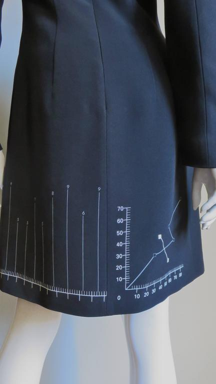 Moschino Life Charts and Graphs Screen Print Dress For Sale 5