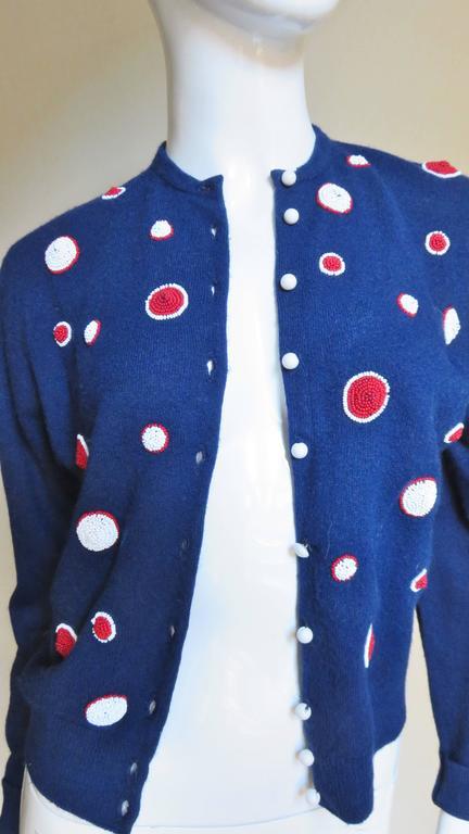 Blue 1950s Elsa Schiaparelli Beaded Cashmere Cardigan Sweater For Sale