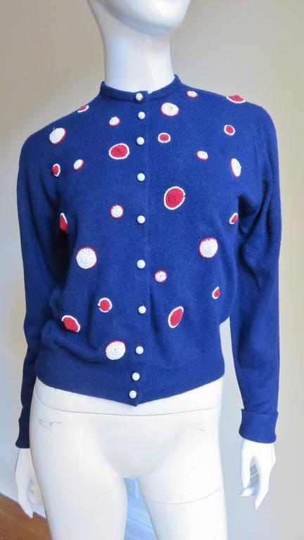 Women's 1950s Elsa Schiaparelli Beaded Cashmere Cardigan Sweater For Sale