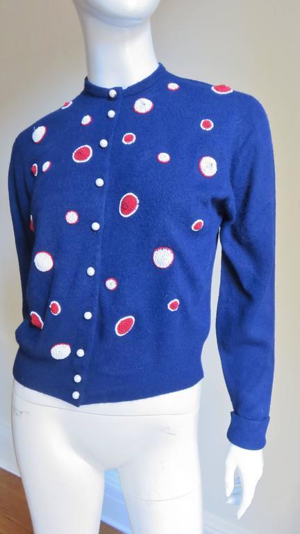1950s Elsa Schiaparelli Beaded Cashmere Cardigan Sweater For Sale 1