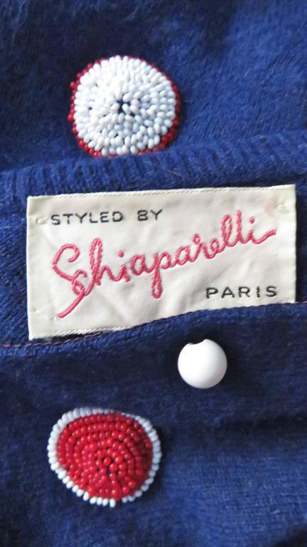 1950s Elsa Schiaparelli Beaded Cashmere Cardigan Sweater For Sale 3
