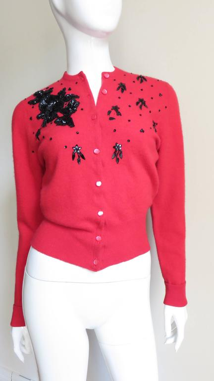 Red 1950s Beaded Cashmere Lyle & Scott Cardigan Sweater For Sale