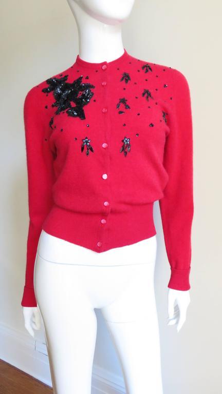 Women's 1950s Beaded Cashmere Lyle & Scott Cardigan Sweater For Sale