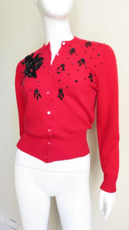 1950s Beaded Cashmere Lyle & Scott Cardigan Sweater For Sale 2