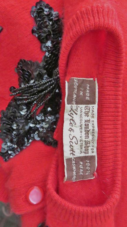 1950s Beaded Cashmere Lyle & Scott Cardigan Sweater For Sale 4