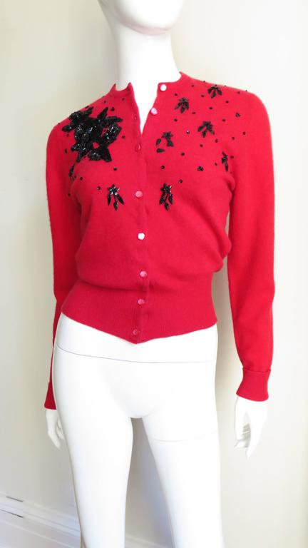 1950s Beaded Cashmere Lyle & Scott Cardigan Sweater For Sale 1