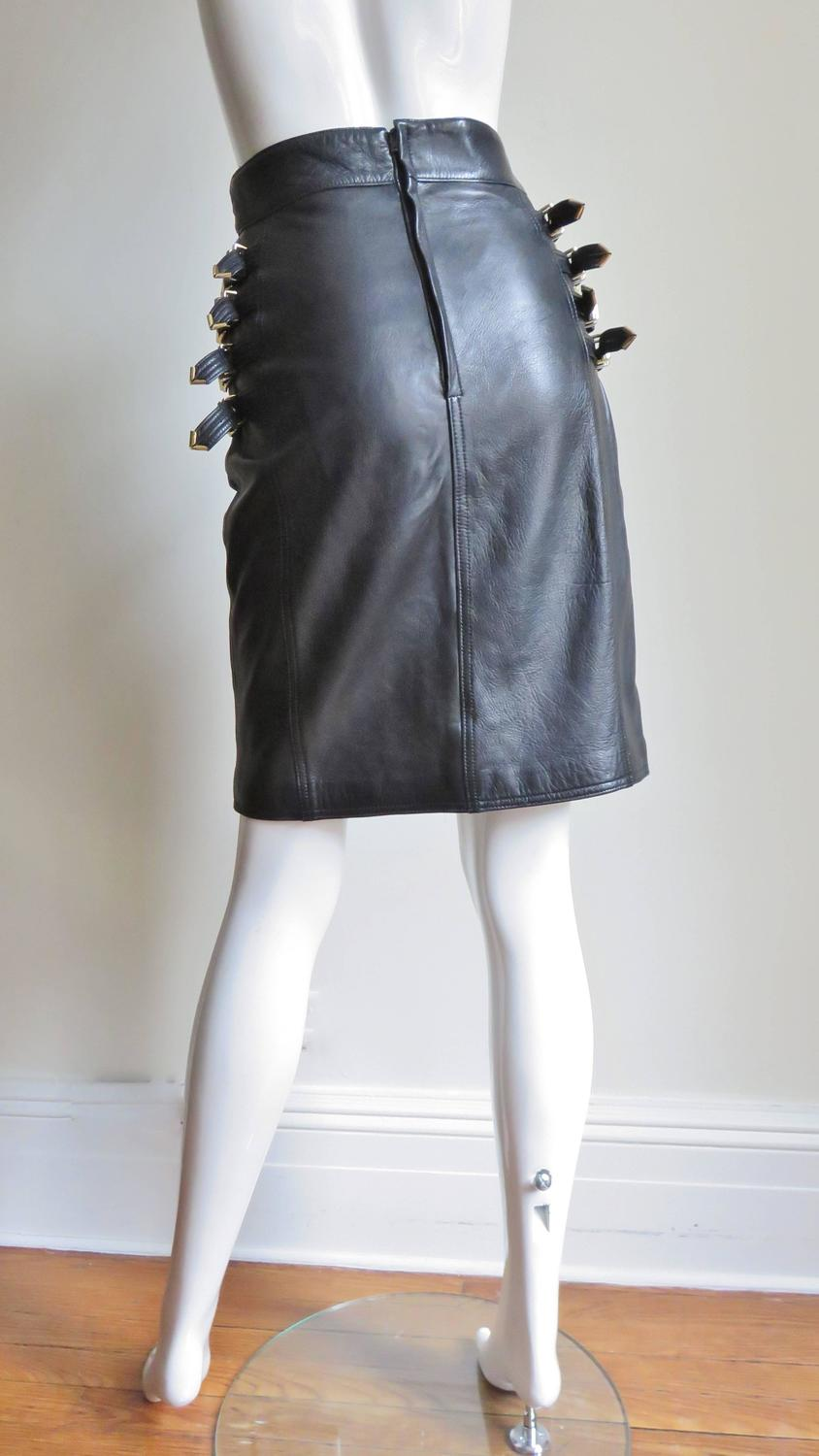 Iconic Gianni Versace Bondage Leather Skirt For Sale At