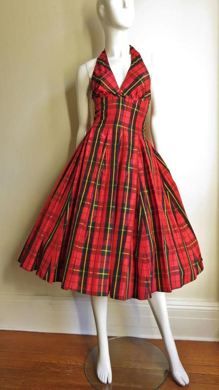 Moshino Plaid Taffeta Halter Dress 4