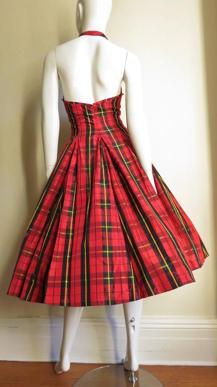 Moshino Plaid Taffeta Halter Dress 8