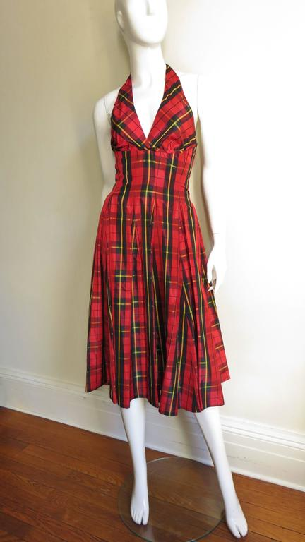 Moshino Plaid Taffeta Halter Dress 5