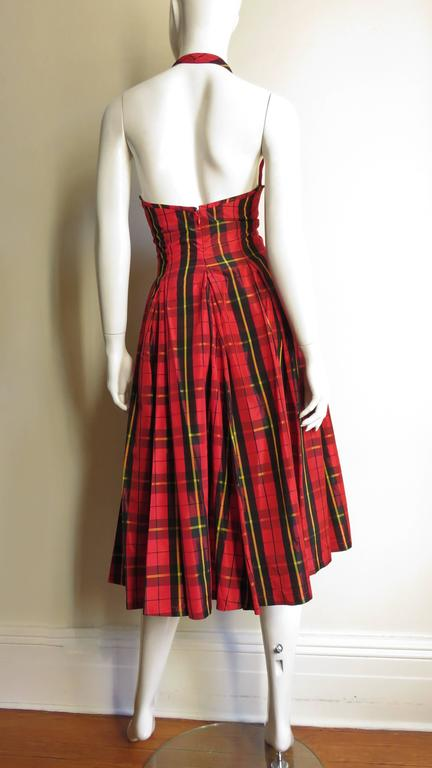 Moshino Plaid Taffeta Halter Dress 7