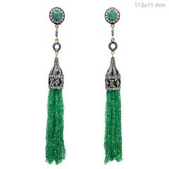 Emerald & Diamond Tassel Earrings