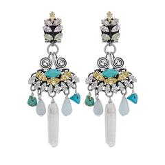 Turquoise and Rock crystal drop earrings