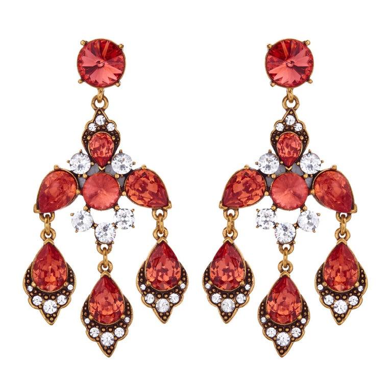 Oscar de la Renta Chandelier Earrings For Sale at 1stdibs