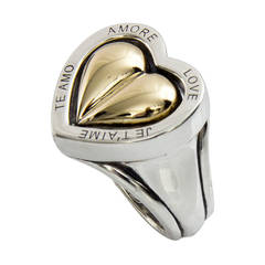 Barry Kieselstein Cord Spinning Heart Love Ring Gold and Sterling Silver