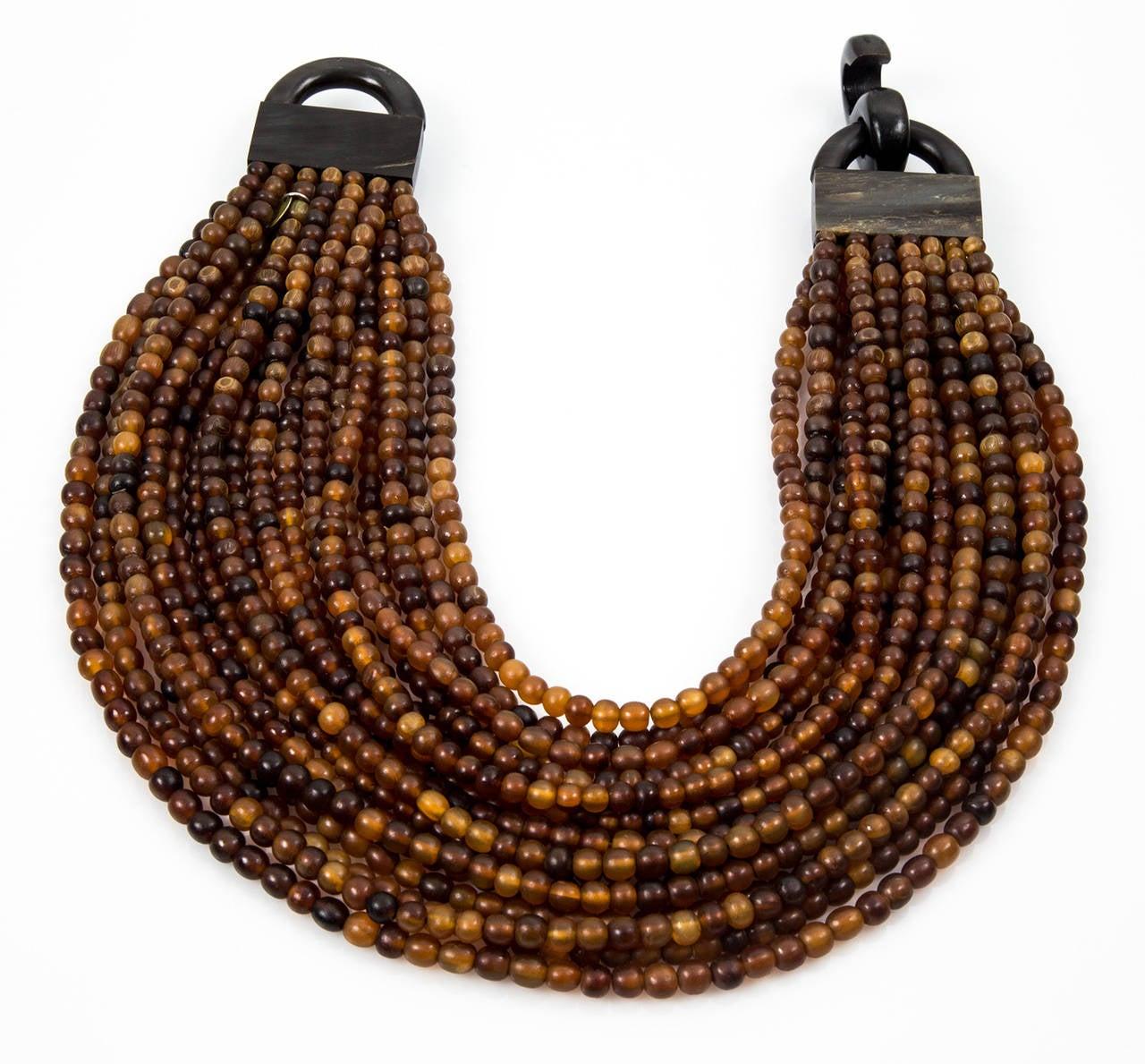 Gerda Lynggaard for Monies Multi Strand Horn Necklace and Earrings 3