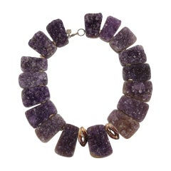 Natural Amethyst Druzy Quartz Sterling Silver Necklace Estate Fine Jewelry