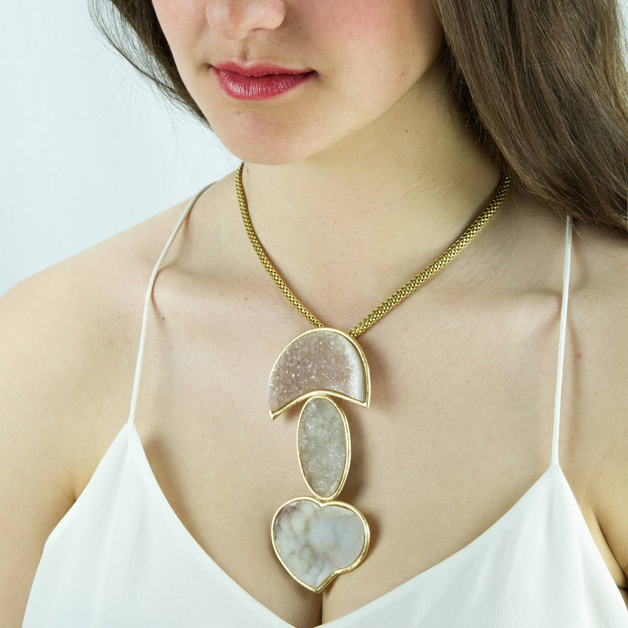 Contemporary Druzy Gold Statement Pendant Necklace with Heart For Sale