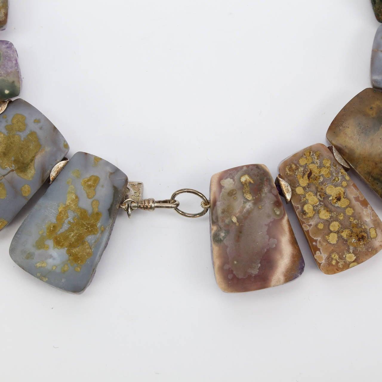 Contemporary Sensational Genuine Natural Gem Amethyst Quartz Druzy Necklace For Sale