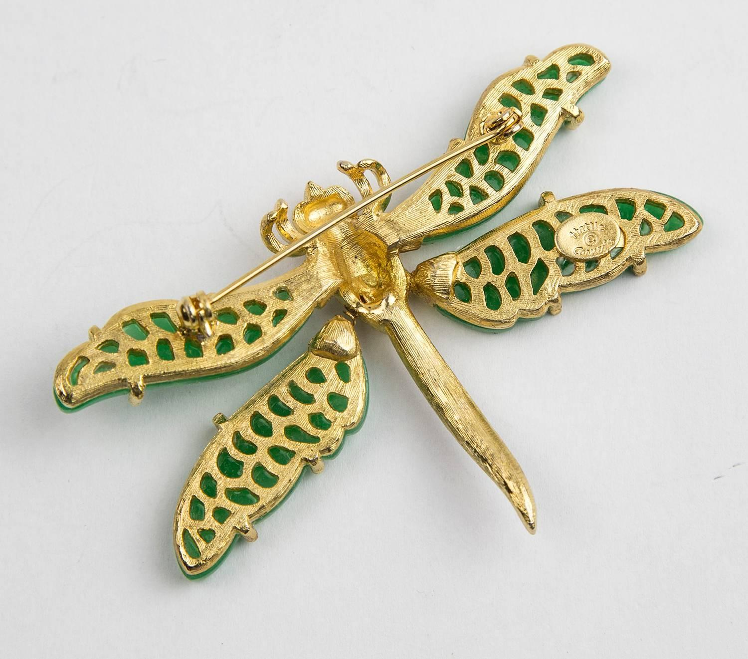Hattie Carnegie Signed Tremblant Faux Jade Dragonfly Brooch Pin For ...