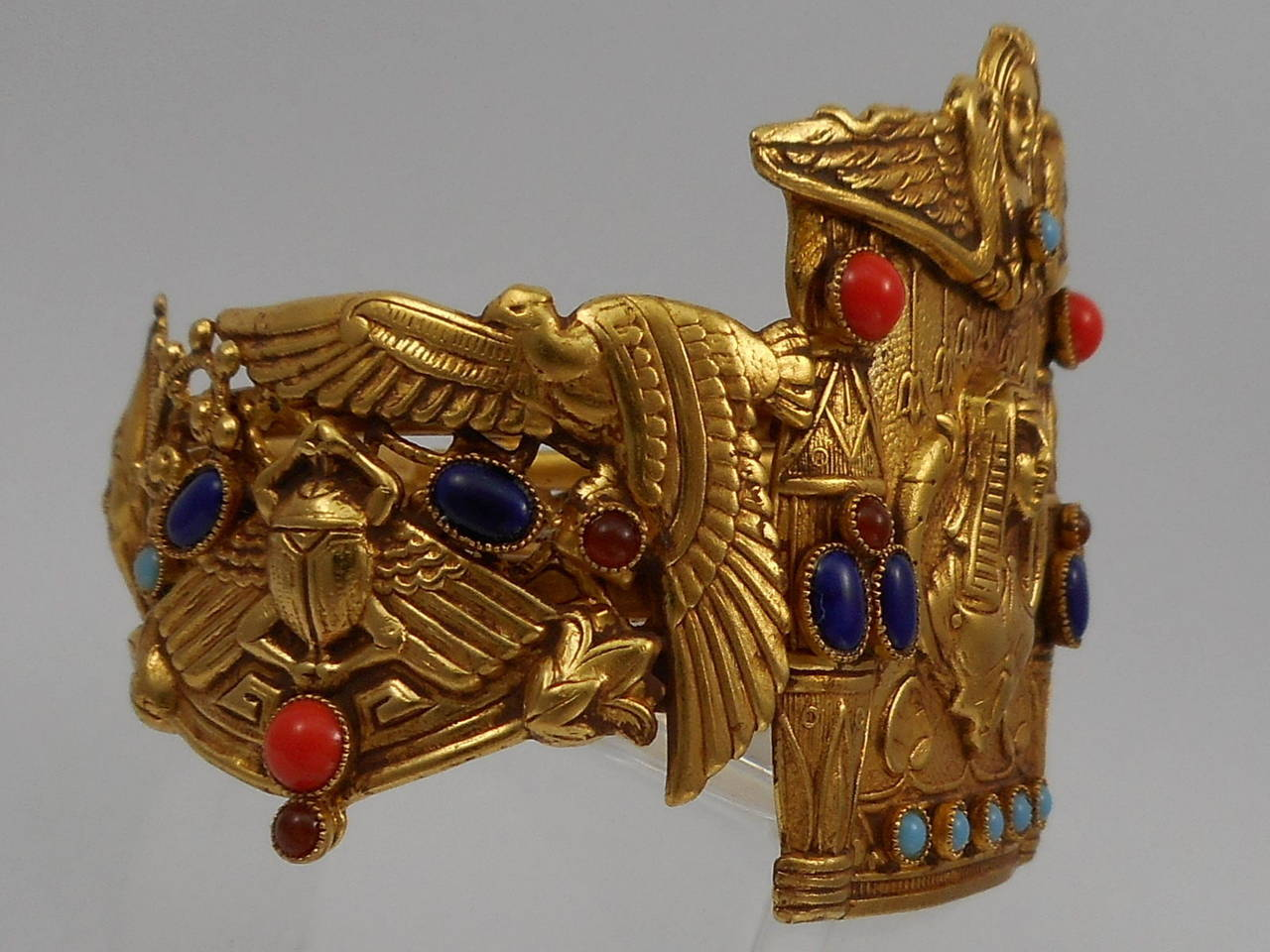 Contemporary Askew London Egyptian Revival Cleopatra And Falcon Cuff Bracelet