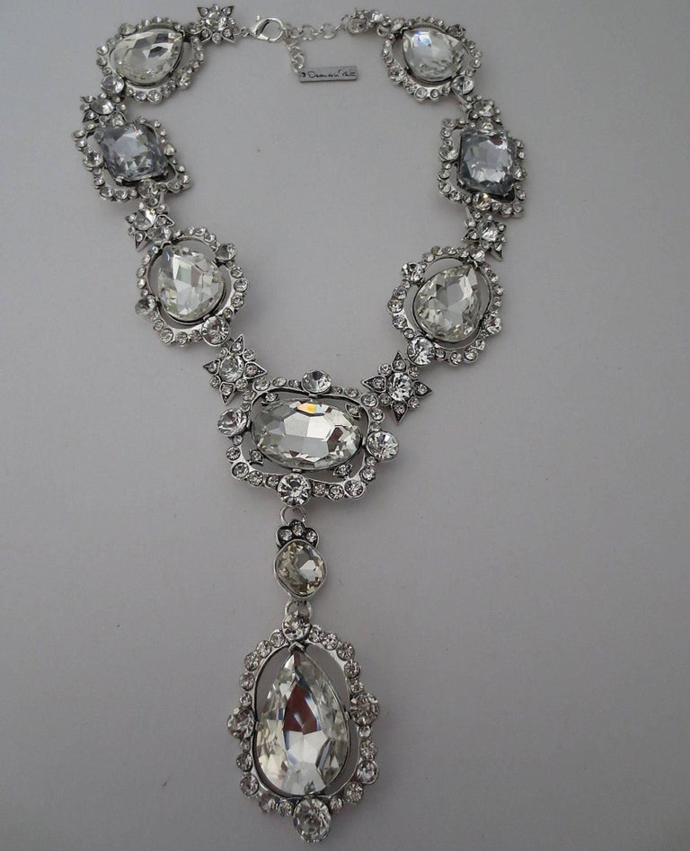 Beautiful signed Oscar de la Renta Runway Faux Diamond crystal Chunky necklace; approx. 20 inches; long with massive center drop approx. 5 inches. Awesome and Fabulous as you are!