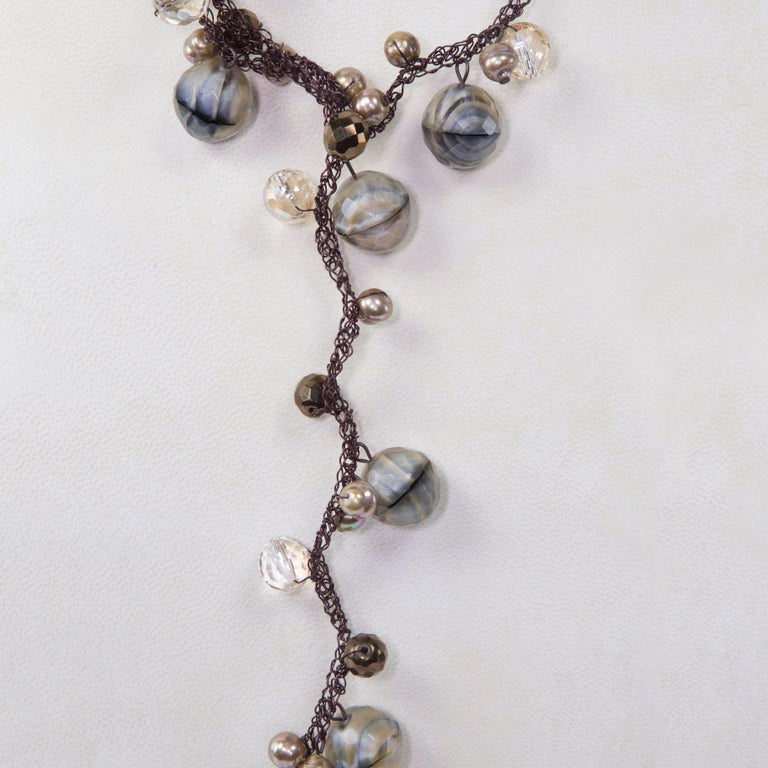 Contemporary Long Brown Faux Agate Pearl Crystal and Stainless Steel Sautoir Necklace For Sale