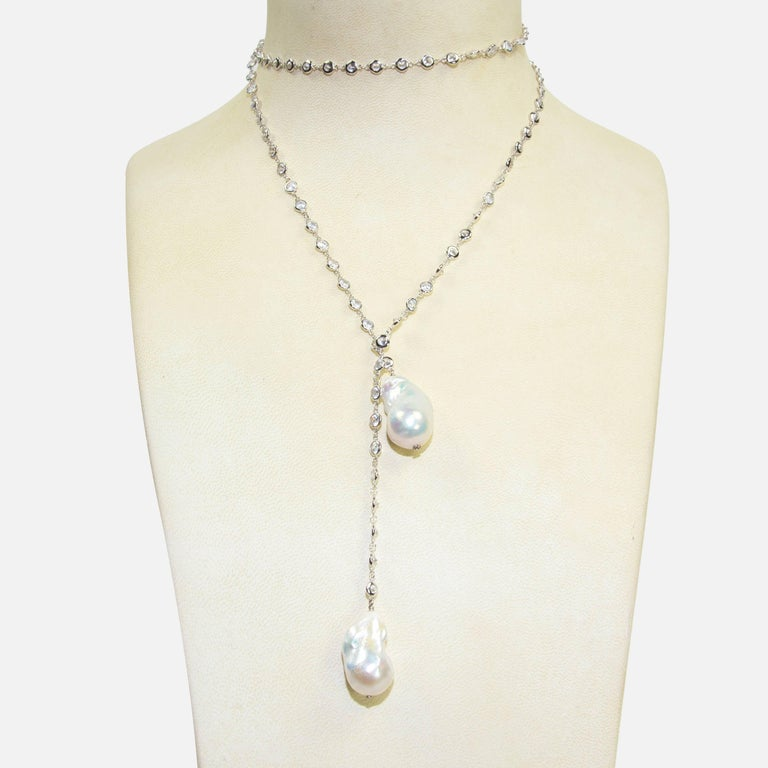 178889aeca750 Striking Faux Diamond Baroque Pearl Lariat Sterling Silver Runway Necklace