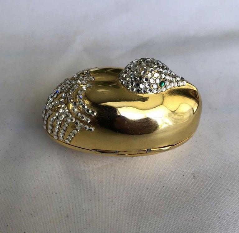 Women's Judith Leiber Resting Crane Bird Diamante Gold Trinket Pill Box  For Sale
