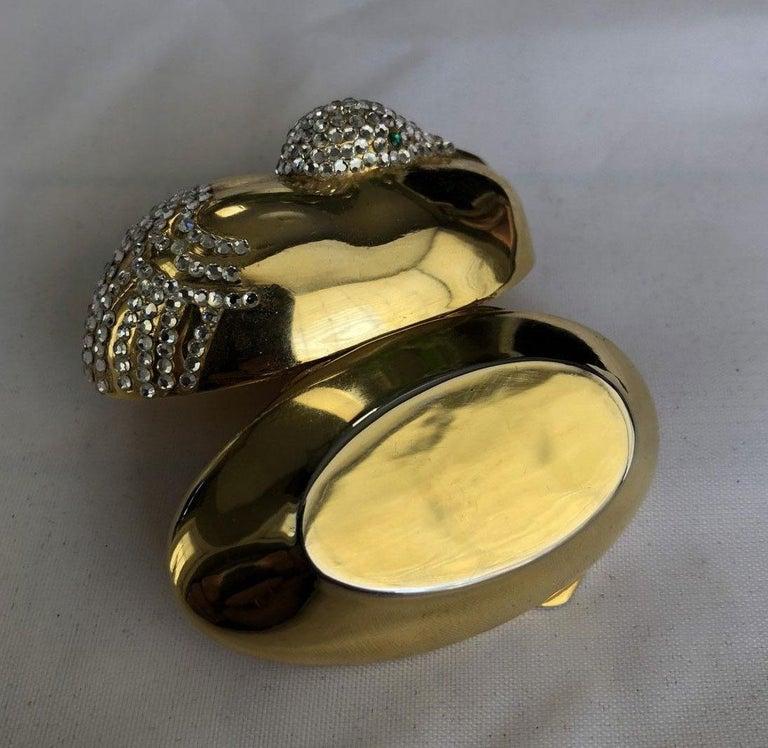 Brown Judith Leiber Resting Crane Bird Diamante Gold Trinket Pill Box  For Sale