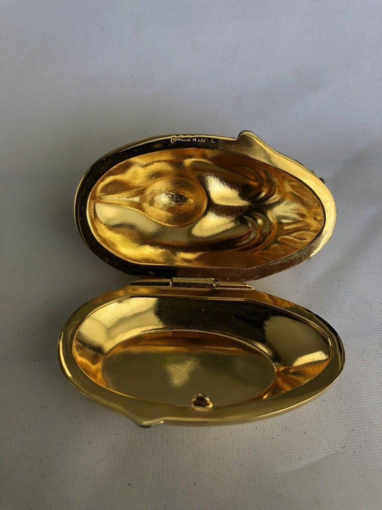 Judith Leiber Resting Crane Bird Diamante Gold Trinket Pill Box  In New Condition For Sale In Montreal, QC