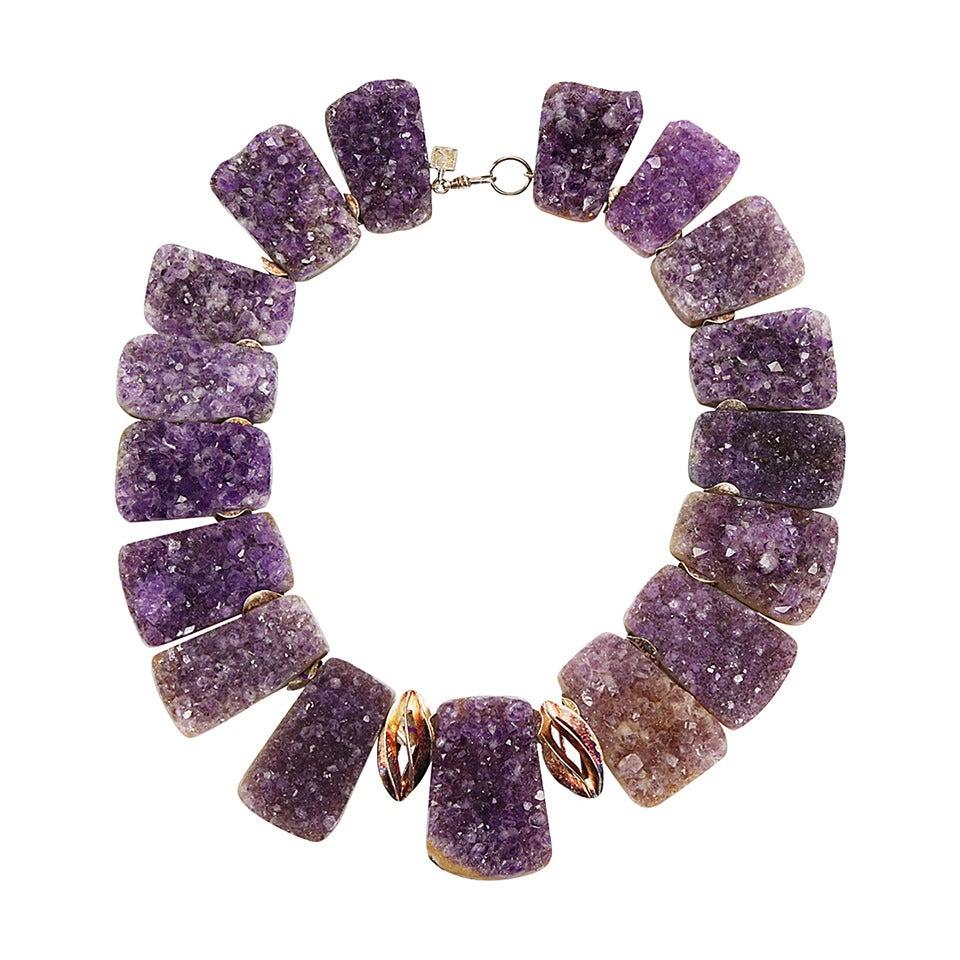Sensational Genuine Natural Gem Amethyst Quartz Druzy Necklace For Sale