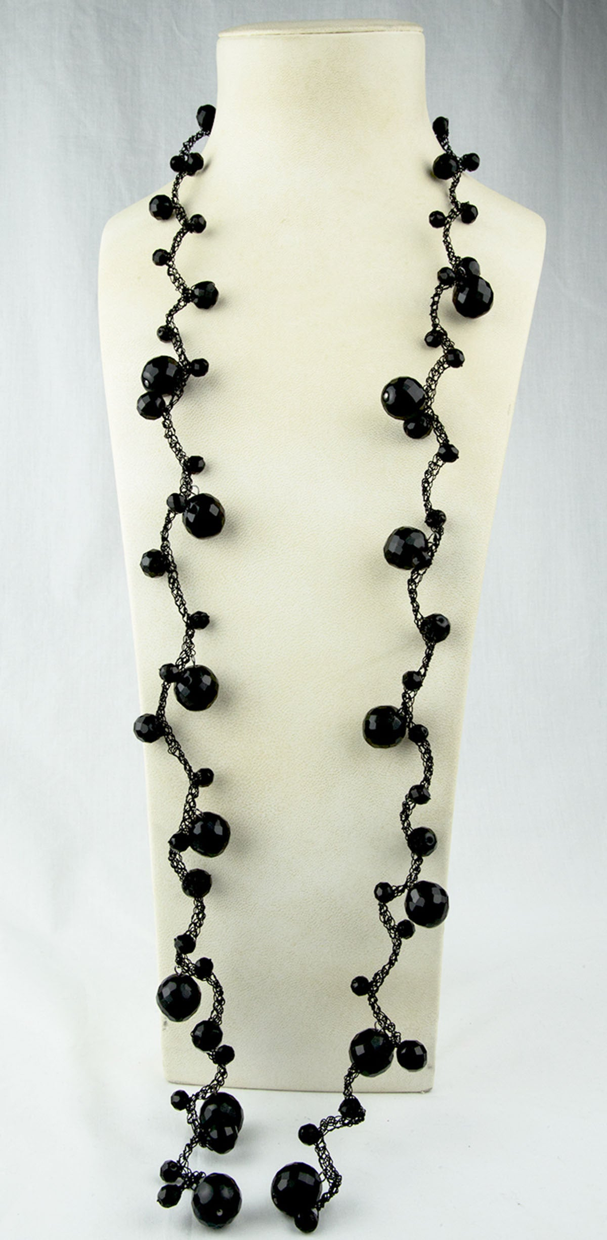 Long Black Jet and Braided Wire Sautoir Necklace For Sale at 1stdibs