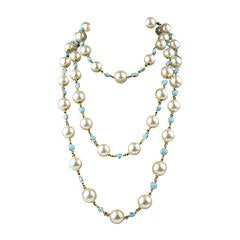 "Long 84"" Faux Pearl and Turquoise Glass Sautoir Runway Necklace"