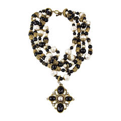 Lancetti Mid Century Modern Pearl and Enamel Pendant Necklace