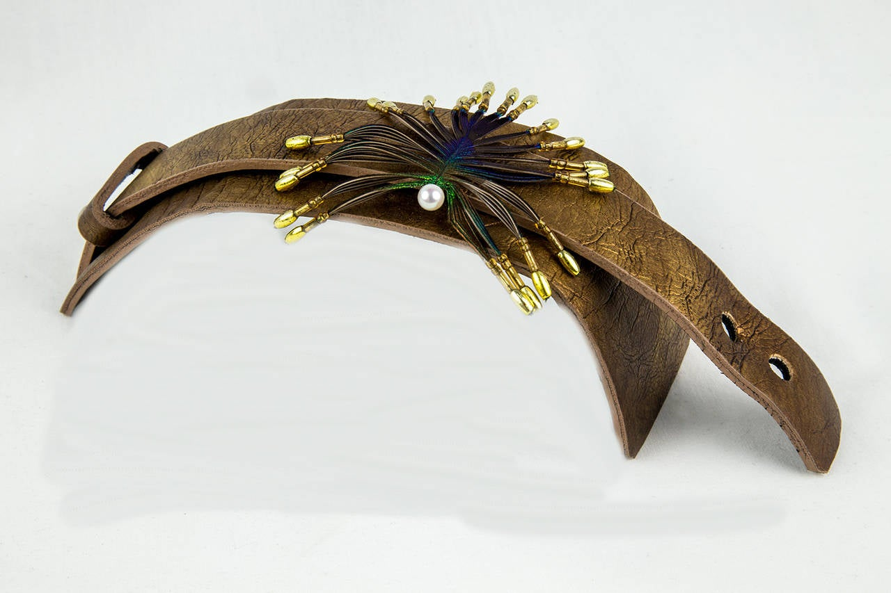 Stylized Peacock Feather Pendant on Leather Cuff 2