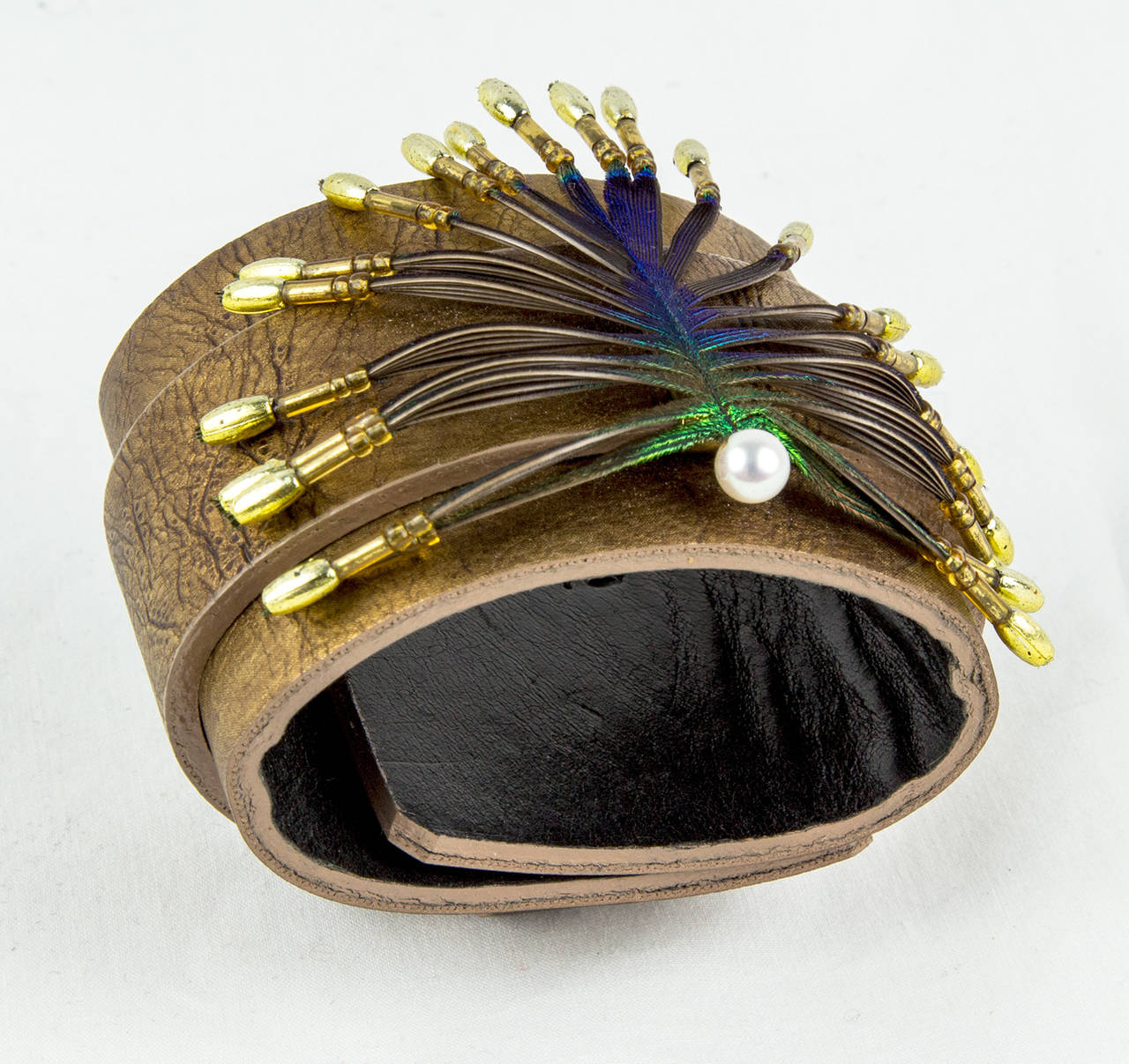 Stylized Peacock Feather Pendant on Leather Cuff 3