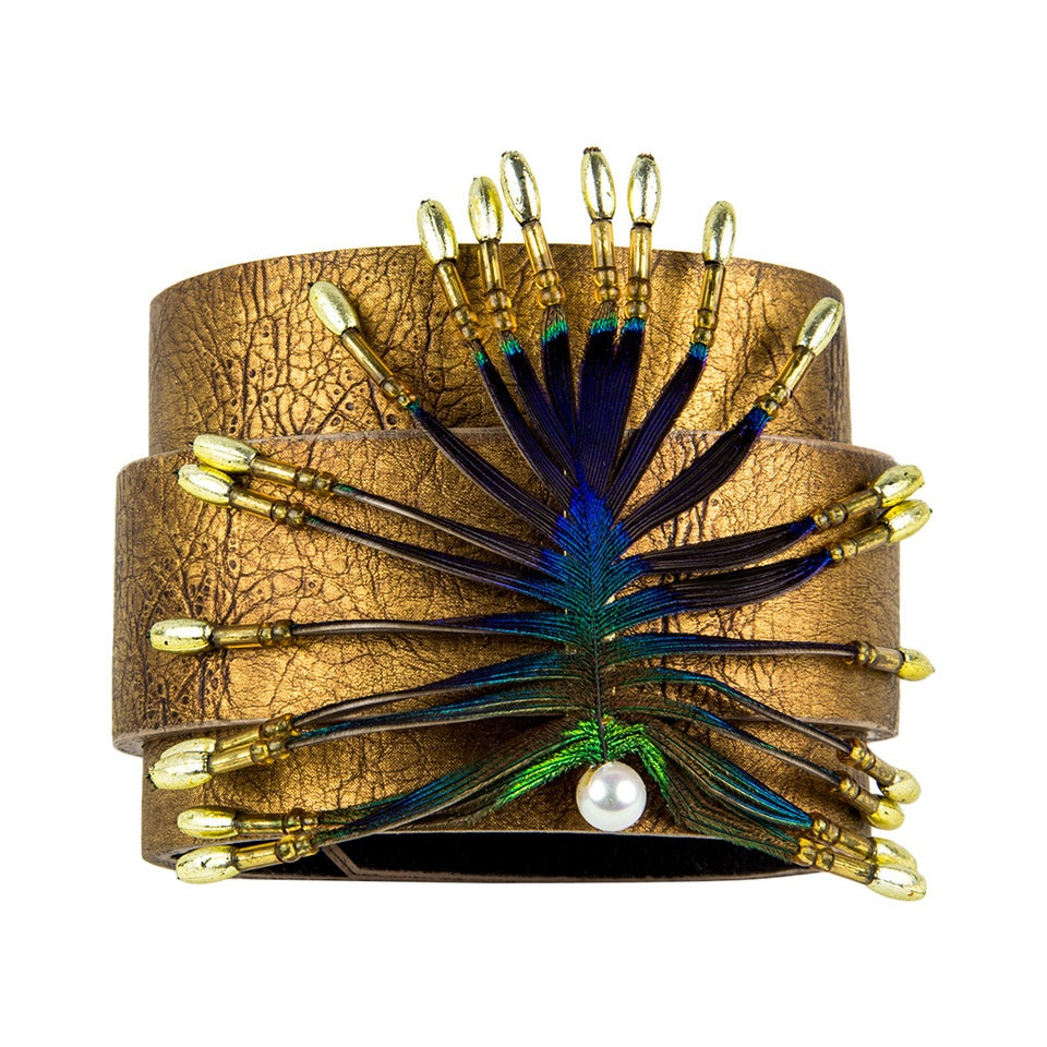 Stylized Peacock Feather Pendant on Leather Cuff For Sale