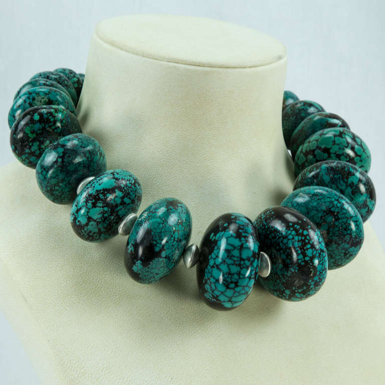 Stunning Turquoise and Sterling Silver Statement Choker Necklace 2
