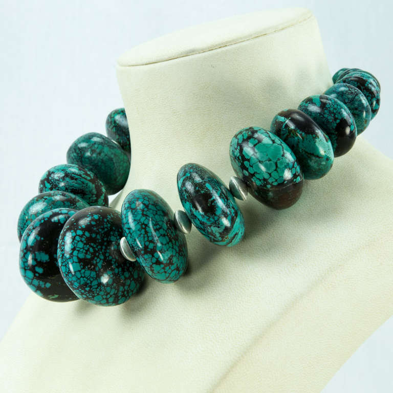 Stunning Turquoise and Sterling Silver Statement Choker Necklace 3