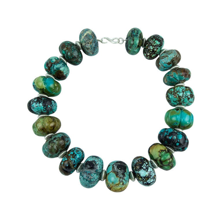 Stunning Turquoise and Sterling Silver Statement Choker Necklace 1