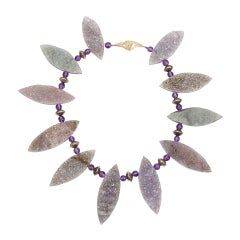 Gem Amethyst Marquise Navette Shaped Druzy Silver Necklace