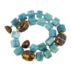 Aquamarine and Gem Opal in Matrix Beads Necklace