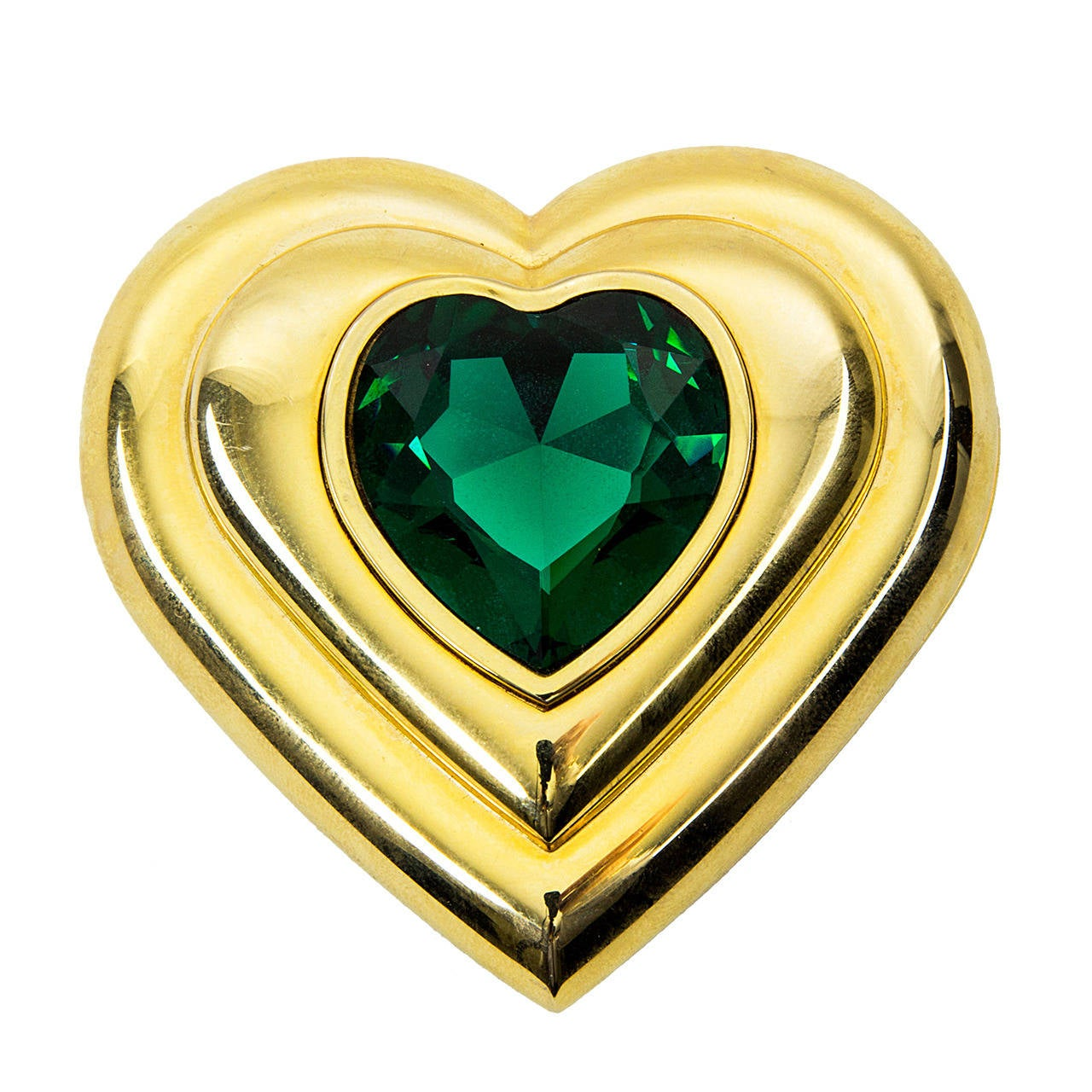 e3fb1156936 Yves Saint Laurent Paris Emerald Green Crystal Jewel Heart Compact YSL For  Sale