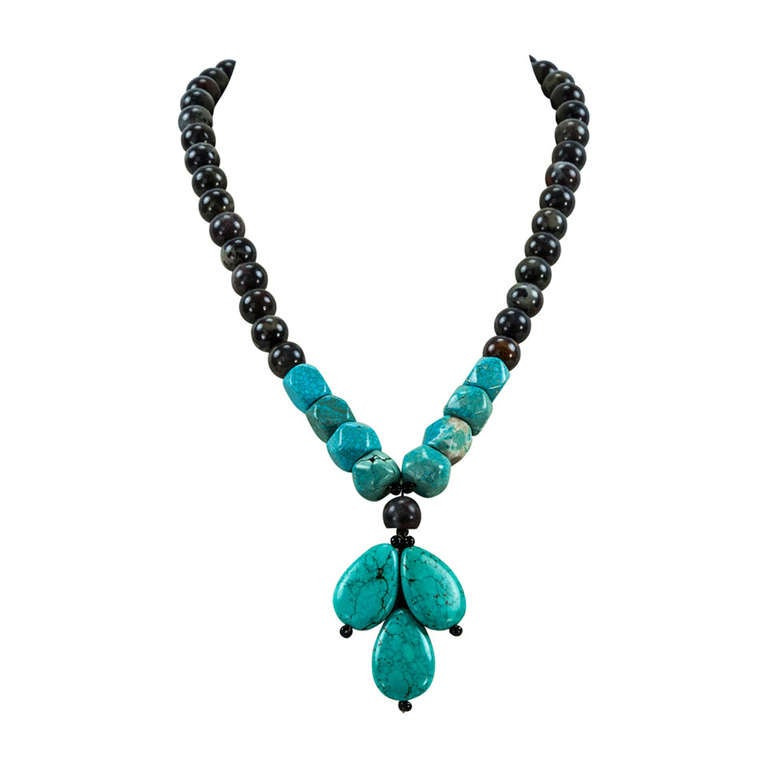 Coach House Turquoise and Jasper Runway Necklace For Sale