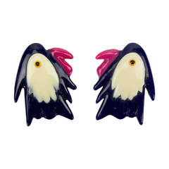 Pair of Celluloid Parrot Brooch Pins