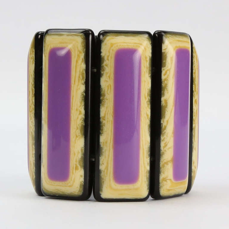 Vibrant Purple and  Banded Celluloid Bracelet 4