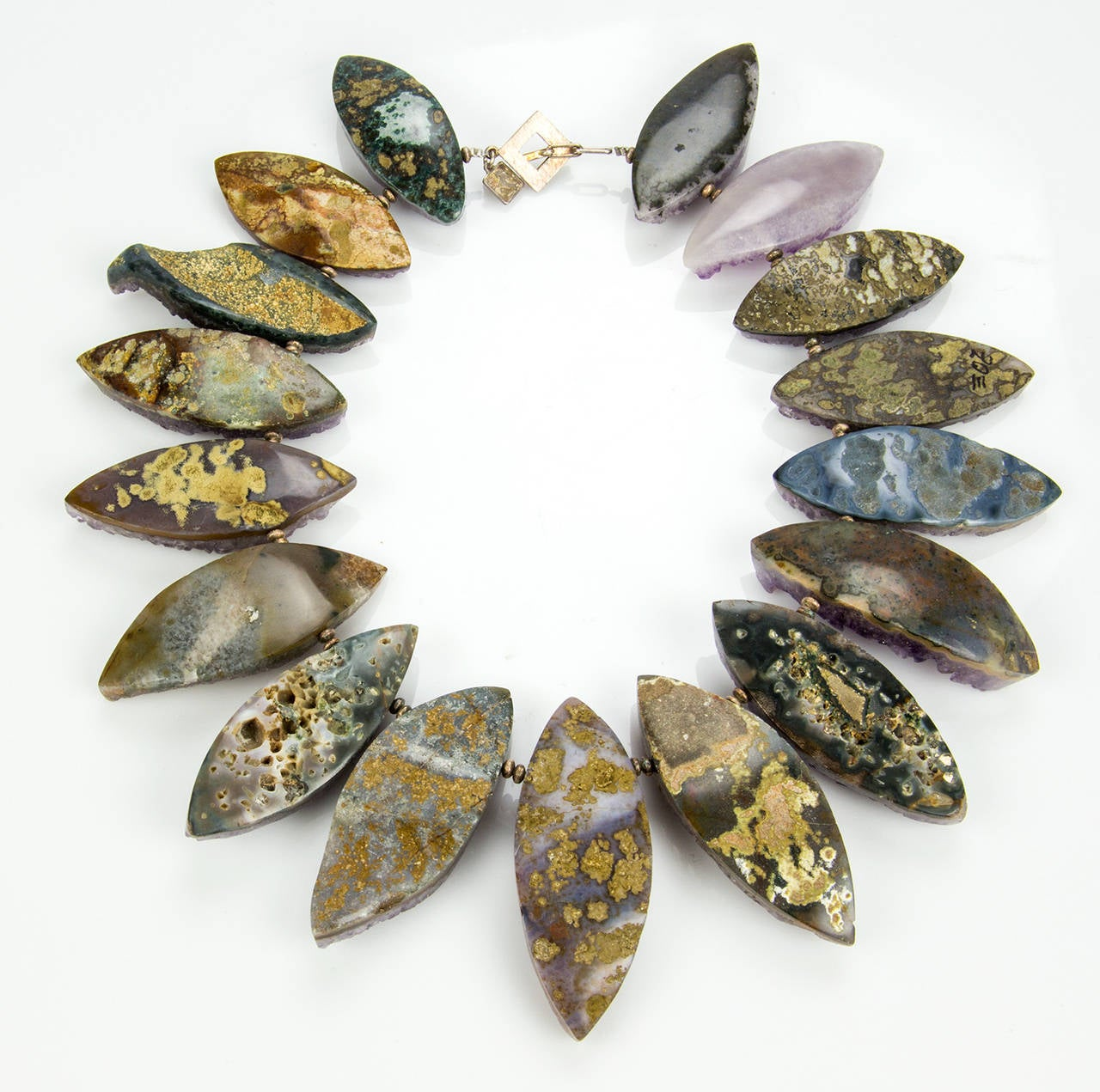 ad5e30d76 Contemporary Gem Amethyst Marquise Druzy Silver Statement Necklace For Sale