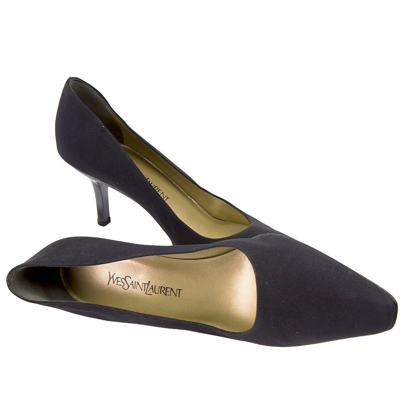 Yves Saint Laurent Shoes Black Shantung Silk Pumps Size 39.5 Italy